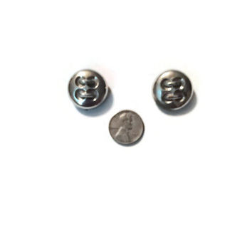 Vintage Silver Plastic Buttons with Shank Back, Set of Two  #48