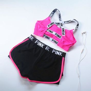 Day-First™ Victoria's Secret PINK 2017 summer sports bra shorts, women's jogging, shock yoga, fitness vest, underwear two sets