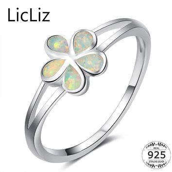 LicLiz Real 925 Sterling Silver Flower Rings For Women White Opal Ring Wedding Band Layer Ring Brincos Finger Star Ring CLR0371