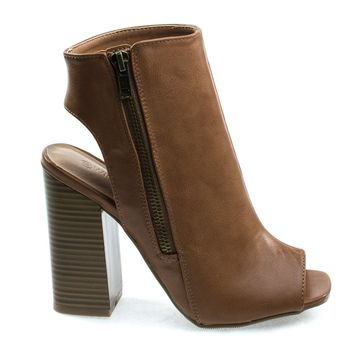Darlyn06 Peep Toe Ankle Booties On Stack Chunky Block Heel w Open Heel & Zipper