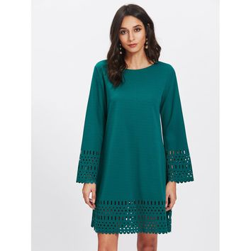 Green Round Neck Long Sleeve Cut Out Shift Dress
