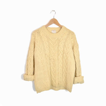 Vintage Cable Knit Wool Fisherman Sweater - men's s/m