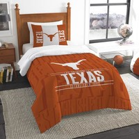 Texas Longhorns NCAA Bedding Modern Take Twin Printed Comforter & 1 Sham Set