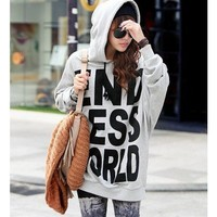 Grey Cotton Letters Print Women Hoddies@T205