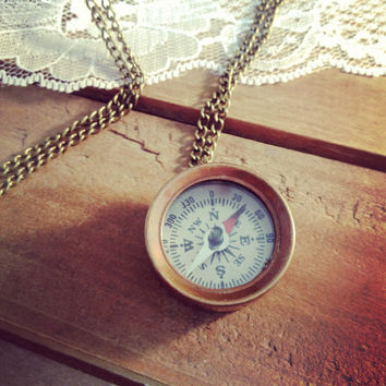 1 - Small Compass Necklace, Antique Bronze, Really WORKS, Nautical, Vintage Necklace Pendant