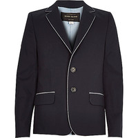 River Island Boys navy blue smart cotton blazer