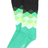 Happy Socks The Faded Diamonds Socks in Green Black : Karmaloop.com - Global Concrete Culture