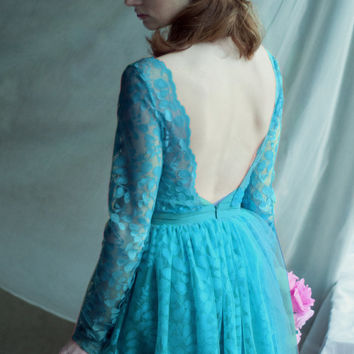 Lace evening dress, turquoise, open back dress