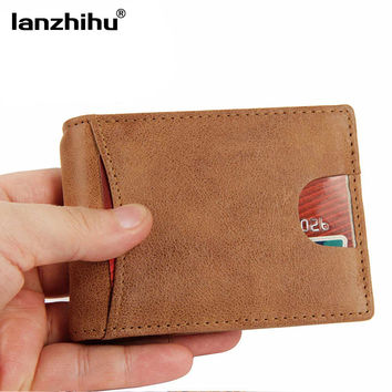2016 Genuine Leather RFID Blocking Men Slim Wallet Men's Front Pocket Minimalist Leather Wallets Money Card Clip