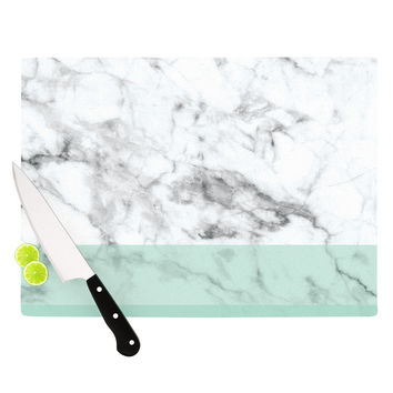 "KESS Original ""Mint Marble Fade"" White Green Cutting Board"