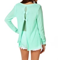 Mint Bow Back Flyaway Sweater