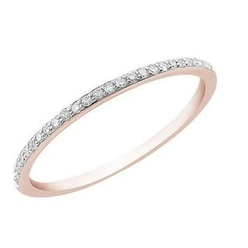 White Diamond Band Ring - Rose Gold Plated
