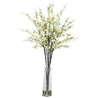 Nearly Natural 1193-WH Cherry Blossoms with Vase Silk Flower Arrangement White