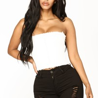 Zipper Up Crop Top - White