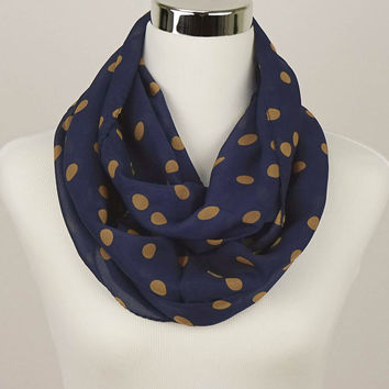 Navy Blue Polkadot Scarf Women's Accessories Dark Blue Scarf Navy Polkadot infinity Scarf Polka dot Scarves Fashion Scarf chiffon scarf