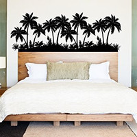 Palm Trees Beach Scene Vinyl Wall Words Decal Sticker Graphic