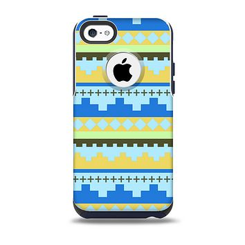 The Blue & Gold Tribal Ethic Geometric Pattern Skin for the iPhone 5c OtterBox Commuter Case