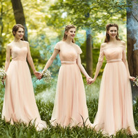 Romantic Long Blush Bridesmaid Dresses With Sleeves Pleat Tulle Lace Cute Bridesmaid Dress Boat Neck Empire Bridesmaid Gowns B49