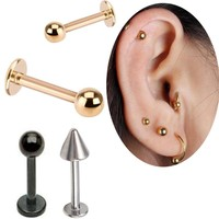 2pcs 6mm 8mm 10 mm 16G stainless steel Gold ball lip ring labret Helix Tragus Ear piercing body jewelry free shipping women