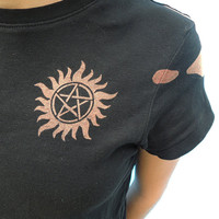 Anti-Possession Tattoo - Castiel's Handprint - Supernatural Bleached Shirt
