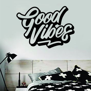 Good Vibes V5 Quote Wall Decal Sticker Bedroom Room Art Vinyl Inspirational Motivational Kids Teen Baby Nursery Playroom School Happy Positive