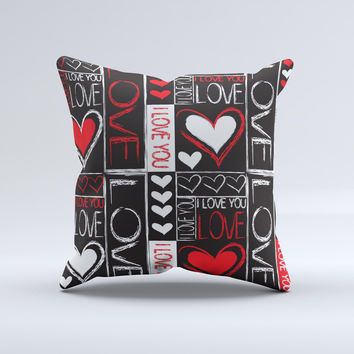Sketch Love Heart Collage  Ink-Fuzed Decorative Throw Pillow