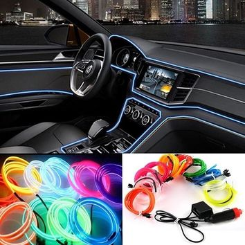 Car Ambient Interior Panel Light illumination / Car Inside Refit Air Cool Strip Light / Optic Fiber Band Car styling