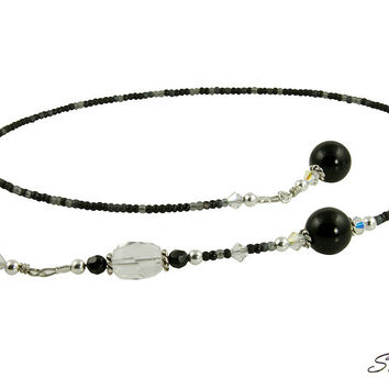 Crystal Black Onyx Gemstone Beaded Bookmark