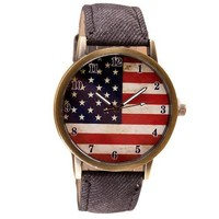 US flag face patriot case casual sport unisex teen gift blackband watch