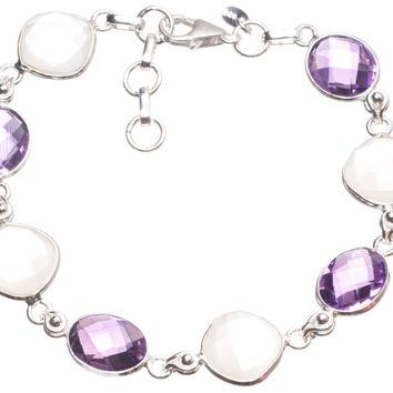 """Natural Mother Of Pearl and Amethyst Handmade Mexican 925 Sterling Silver Tennis Bracelet 7-7 3/4"""" T8281"""