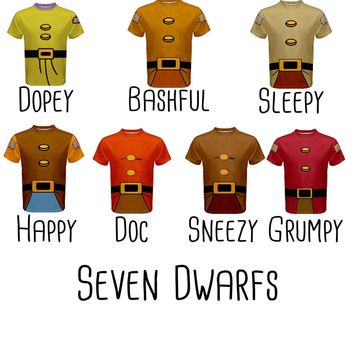 Men's Snow White and the Seven Dwarfs (No Beard) Inspired ATHLETIC Disneybound Shirt