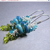 Long dangle blue green glass bead earrings boro lampwork beads sterling silver Swarovski crystals - Opal Shore