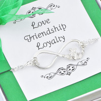 Wedding Sale Claddagh Infinity Bracelet w/gift box - Bridesmaid Bracelet - Silver Claddagh Bracelet - Bridesmaid Gift - Infinity Jewelry