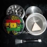 Rasta DC Weed Leaf 4 Piece Herb Grinder Pollen Screen Catcher, Scraper