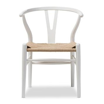 Baxton Studio Mid-Century Modern Wishbone Chair - Ivory Wood Y Chair Set of 2