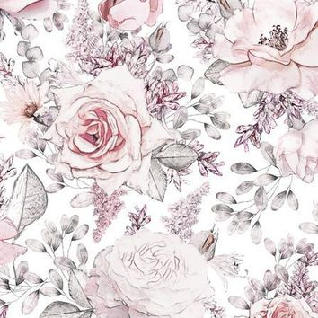 PINK BLUSH ROSES DRAWING SKETCH VINYL BACKDROP - 5x6 - LCCR6848 - LAST CALL