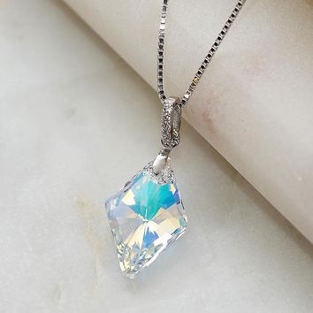 Aurora Faceted Rhombus Borealis Swarovski Crystals Necklace