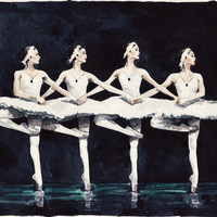 Four Swan Ballerinas - Giclee Print of Watercolor Painting 8 x 10 - White Swan Black Swan Odile Odette Ballet Dancers