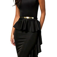 Black Sleeveless Peplum Bodycon Dress with Side Ruffle Detail