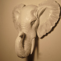 Miniature White Elephant Wall Mount - Faux Taxidermy
