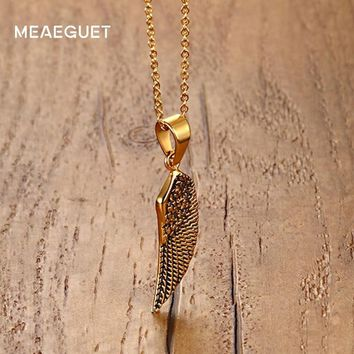 Meaeguet Vintage Punk Men Necklace Stainless Steel Wings Feather Pendant Male Necklace Men Jewelry Link Chain