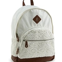 Aeropostale Women's Floral Crochet Backpack