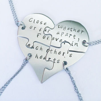Hand stamped friendship puzzle necklaces, shaped like a heart - perfect for 4 people