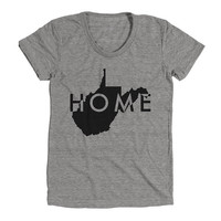 West Virginia Home Womens Athletic Grey T Shirt - Graphic Tee - Clothing - Gift