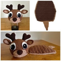 Baby Boy Girl ELK Deer Crochet Knit Hat / Costume Set Cover Pad Photography Prop Fit for Newborn-24 months = 1958145604