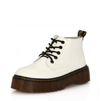 Lace Up Martin Anklet Boots In White