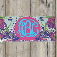 Monogram License Plate - Lilly Pulitzer Inspired Personalized Monogrammed License Plate Car Tag - Custom - Monogram - Preppy Lilly