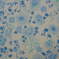 vintage sheet fabric fat quarter (cornflower powder sky and aqua little flowers and leaves)