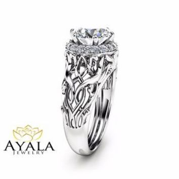 Unique Halo Engagement Ring 14K White Gold Ring 2 Carat Diamond Art Deco Ring