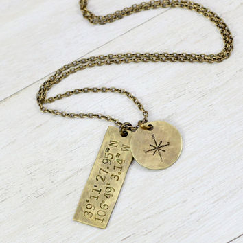 Antique Brass GPS Necklace--Compass Rose Necklace--Happy Place--Safe Haven--True North